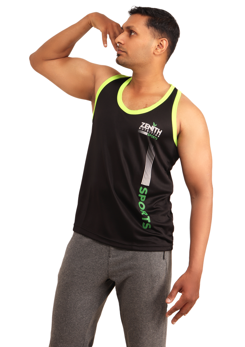 ZENITH SPORTS Soft | Durable | Stretchable | Light-Weight | Sleeveless Performance Gym T-Shirt