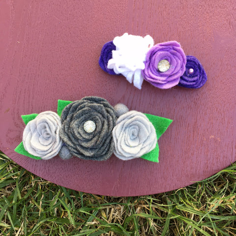 OOAK Hand Cut Felt Flower + headband