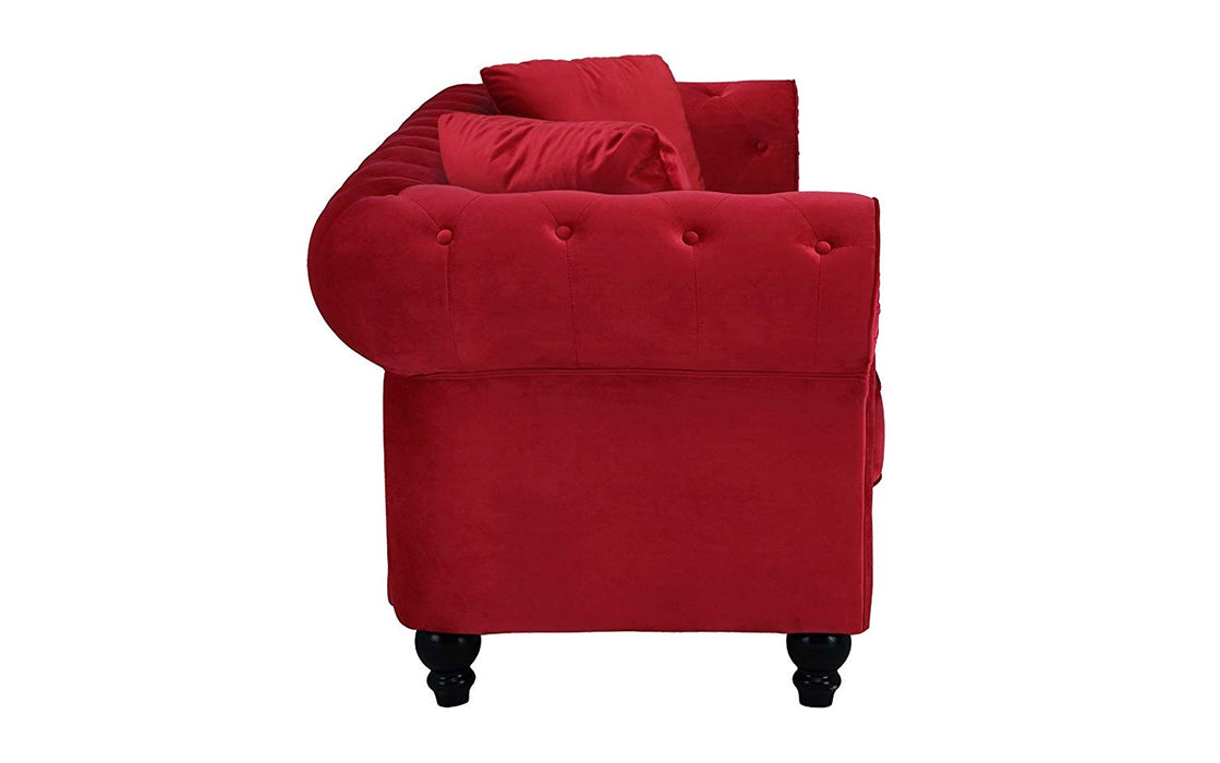 Scarlet Classic Red Velvet Scroll Arm Tufted Button Chesterfield ...