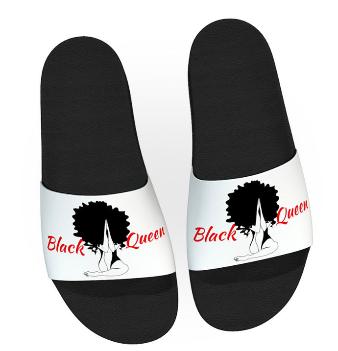 Black Queen Snap Slides (White)