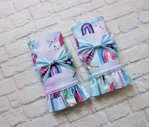 Pixieland droolpads with ruffles and bows