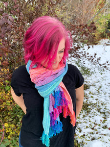 Sugar Reef scarf with short fringe ends - Natty cotton weft