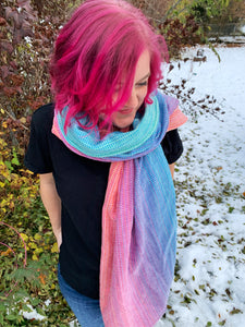 Sugar Reef 2m scarf with hemmed ends - Natty cotton weft