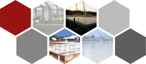 Collage of Fiber Applications for Commercial Slab on Ground Concrete by Nycon