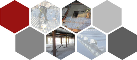 Collage of Fiber Applications for Composite Steel Deck Concrete by Nycon