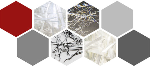 Collage of A Variety of Fibers for Concrete by Nycon