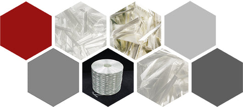 Collage of Fiberglass Fibers for Concrete by Nycon