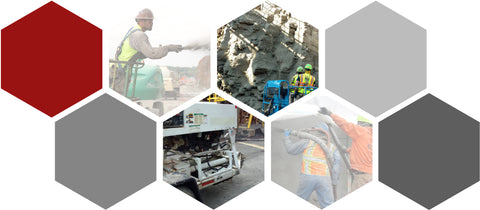 Collage of Fiber Applications for Shotcrete Concrete by Nycon