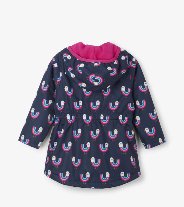 Hatley Girls' Microfiber Rain Jacket, Rainbow Birds