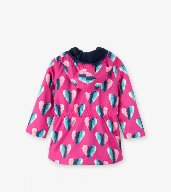 Hatley Girls' Microfiber Rain Jacket, Hearts