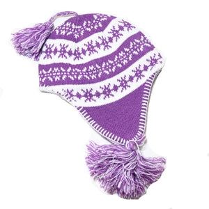 SnowStoppers Sherpa Knit Hat, Purple & White