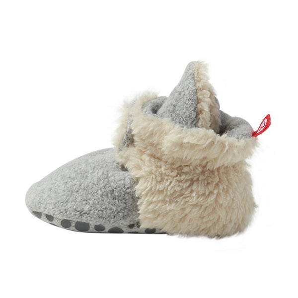 Zutano Cozie Fleece Furry Lined Gripper Booties, Heather Gray