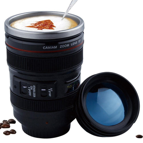Camera lens theme portable coffee flask, 400mls, stainless steel lined.