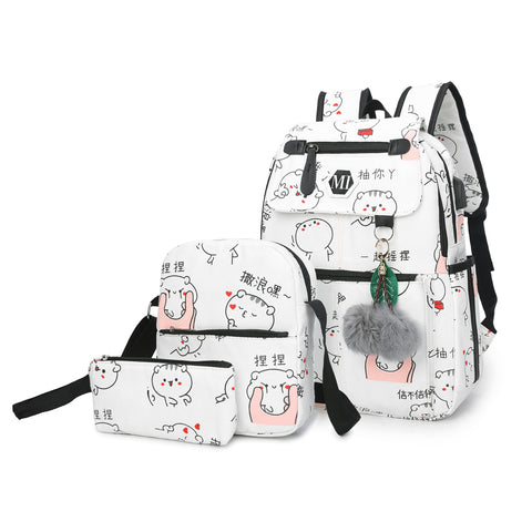 USB charging canvas backpack 3 set