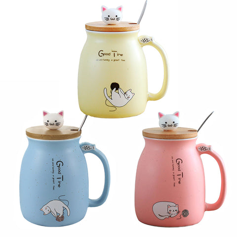 color cat heat-resistant cartoon mug with lid