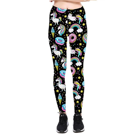donuts and unicorns and cats in space print leggings