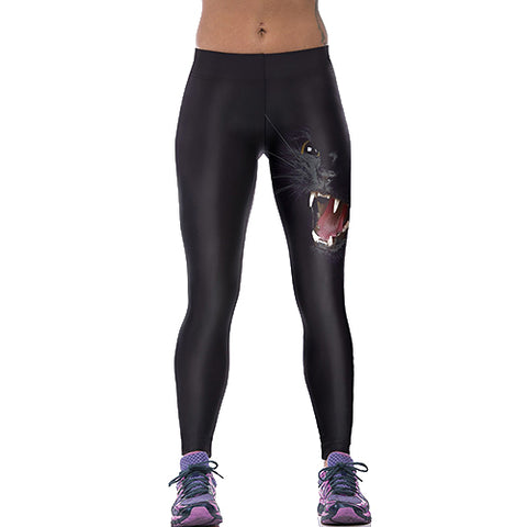 Black stretch leggings with black panther face on the left leg thigh.