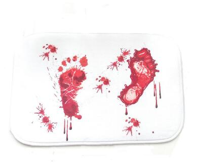 Pressurized fake blood bathmat. Step on it and fake blood footprints appear.