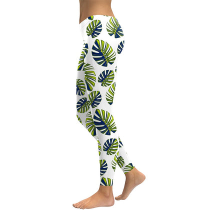 Stretch leggings with clean looking green and blue large leaf print.