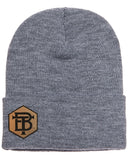 Custom Leather Patches Personalized Beanies Grey