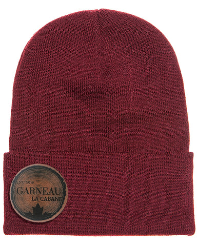 Leather Patch Cuffed Beanie