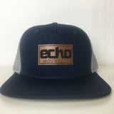 Custom hats no minimums Leather Patches Custom Trucker hat navy grey
