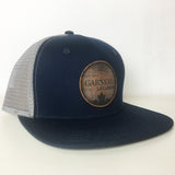 Personalized Leather Patch hats navy grey two tone custom caps