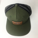 Custom Leather Patch Hats Green Black Two Tone Snapback hat