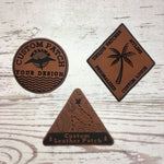 Personalized Patches No Minimums Custom Leather patches for hats and clothing
