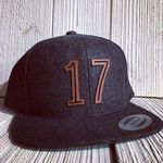 Laser Cut Leather Patch on Wool Flatbill hat