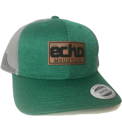 Custom Leather Patch Trucker Hats green grey curved bill