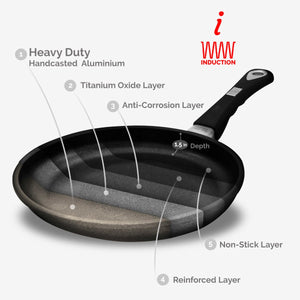 "ProCook, Non-stick Tossing pan (Ø 24cm/9.45"") w/Ergonomic handle, Induction Ready 80-800-0424i"