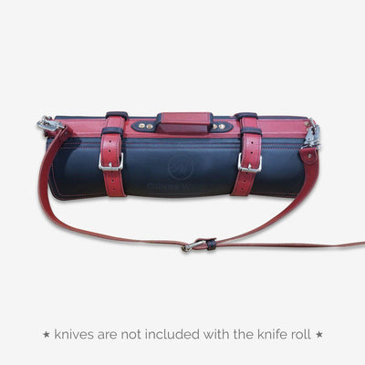 Leather Knife Bag (Black w/ Red Straps)
