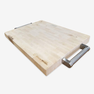 "Canadian maple Butcher Block w/stainless steel handles 12""x16""x1-1/2"", 98-944-12168"