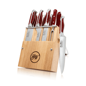 13 PC CUTLERY SET W/KNIFE BLOC RED ABS