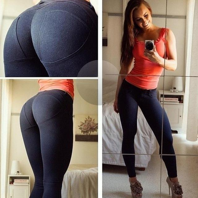 OK 2018 Low Waist Push Up Elastic Casual Leggings Pants Women Yoga Fitness Stretch Womens Solid Capri Skinny Workout Sports Sexy - Deluxefitness