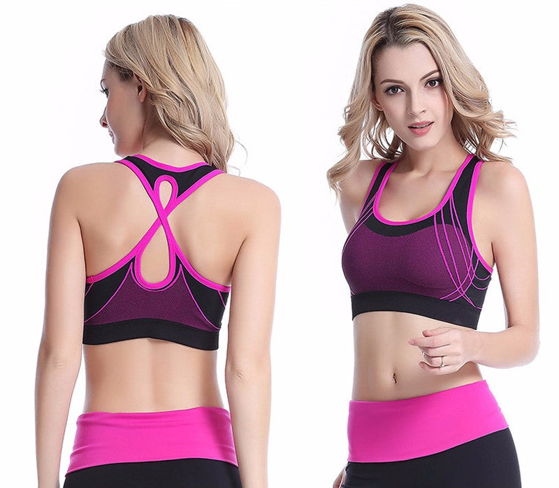 Deluxe NEW 2018 Model! Women Quick Dry Sports Bra Cross Back Hollow Push Up Padded Crop Tops Shockproof Fitness Underwear Yoga Running Vest Top - Deluxefitness