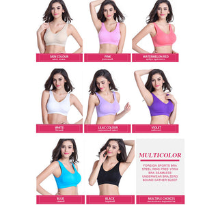 Original 2018!  10 Color Plus Size Professional Absorb Sweat Top Athletic Running Women Sports Bra Gym Fitness Seamless Padded Vest Tanks - Deluxefitness