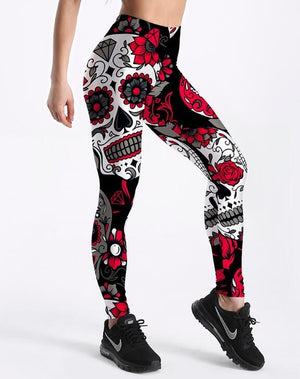 Women's Skull & Flower Black Fitness Leggings Yoga Tights - Deluxefitness