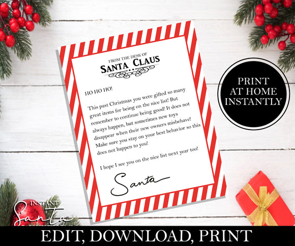 Stay on The Nice List Letter From Santa, EDITABLE