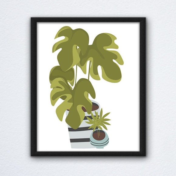 Cartoon Monstera Wall Art