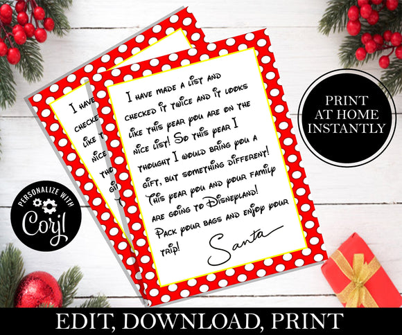 Disney Letter From Santa; EDITABLE