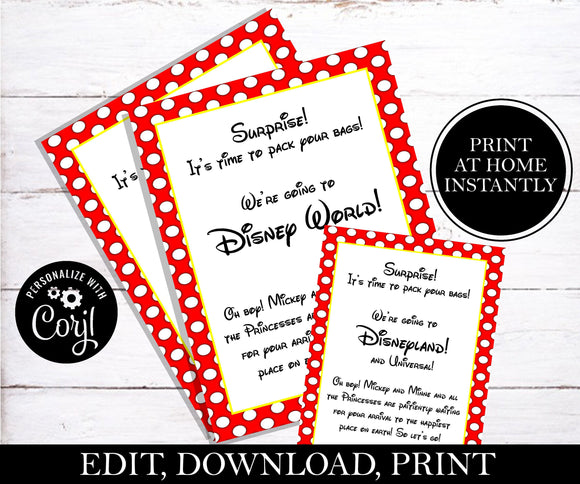 Going To Disney Letter; EDITABLE
