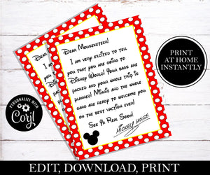 Surprise You're Going To Disney Letter from Mickey Mouse; EDITABLE
