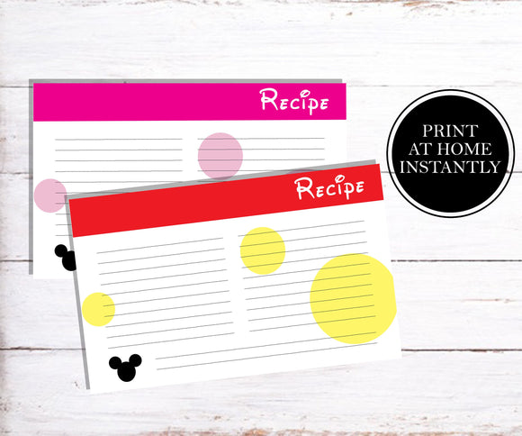 Mickey and Minne Recipe Cards