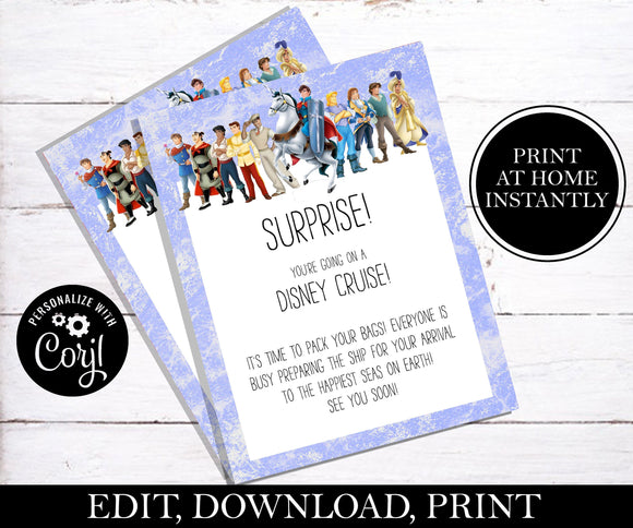 Surprise You're Going on A Disney Cruise Letter; EDITABLE