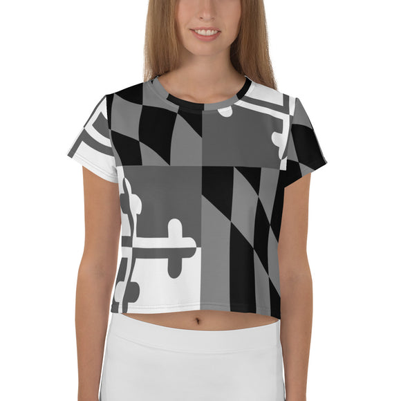 Black and White Maryland Flag Crop Top