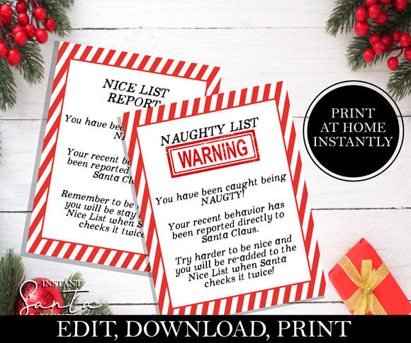 Naughty List Warning & Nice List Announcement, EDITABLE