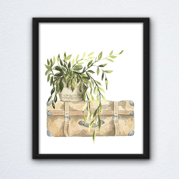 Potted Suitcase Wall Art