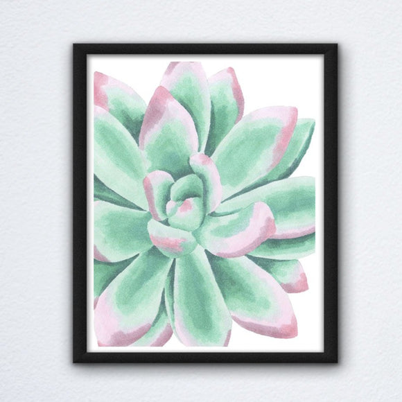 Green and Pink Succulent Cactus Wall Art